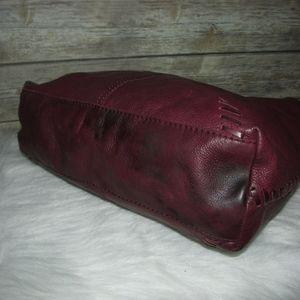 Lucky Brand Bags - Lucky Brand Burgundy Leather Whipstitch Tote Hobo